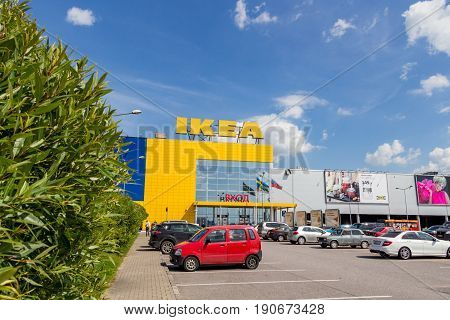 St. Petersburg Russia - July 28 2016: Hypermarket IKEA on a summer sunny day