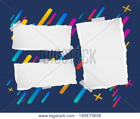 Pieces of ripped blank note, notebook, copybook paper strips stuck on lined colorful background