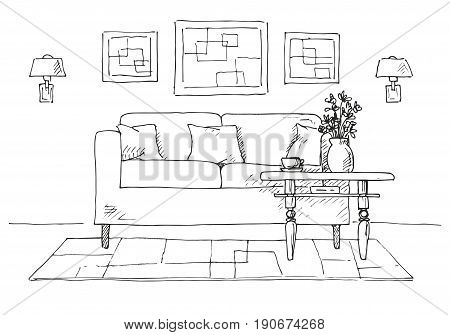 Linear sketch of an interior. Sofa table lamp flower and picture.Hand drawn vector illustration of a sketch style.