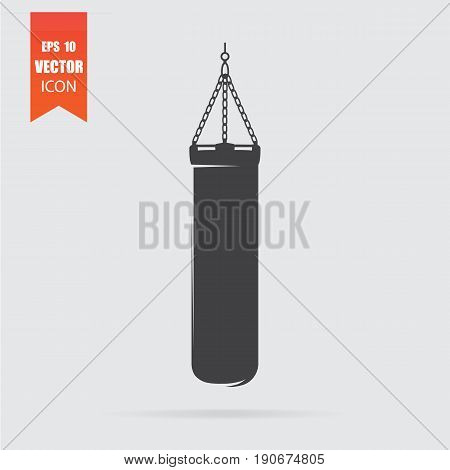 Punching Bag Icon In Flat Style Isolated On Grey Background.