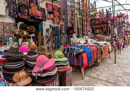 Pisac, Peru- March 16, 2017: Local Villagers Market in Pisac Peru