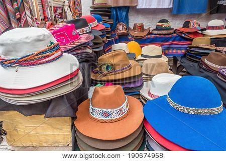 Peruvian traditional hats for sale in Ollantaytambo Peru