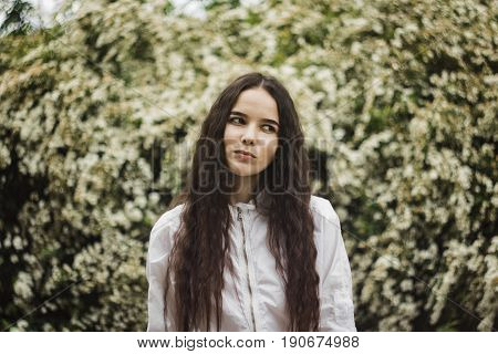 Summer background with brunette. Young woman on white flowers background. Happy teenager in summer park sniffs flowers. Wall of white flowers in blossom.