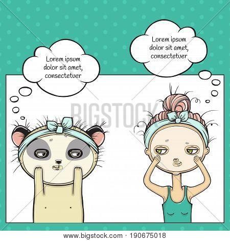 Facial treatment of girl and panda, Masking for face. Pop art thinking bubble. Vector illustartion.