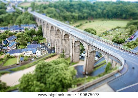 Top view on the famous Dinan town with viaduc and river Rance in Brittany region in France