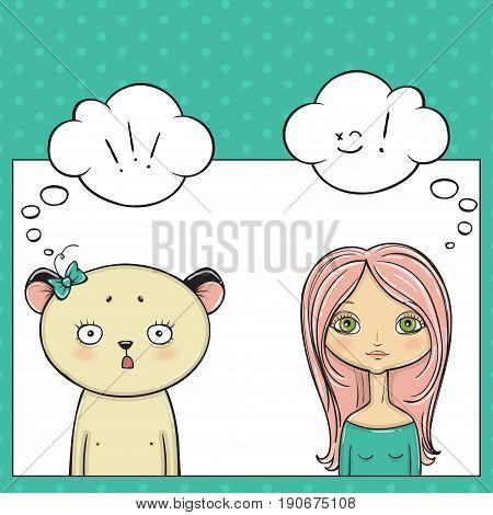 Beautyful girl and panda, Pop art thinking bubble. Vector illustartion.
