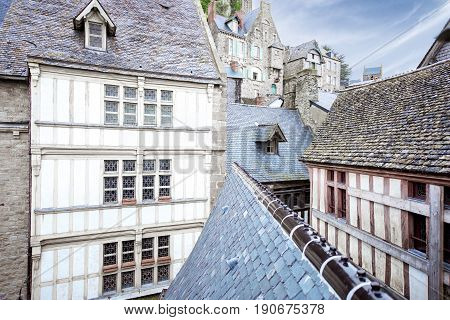 Ancient buildings of the old town on the famous Mont Saint Michel island in France