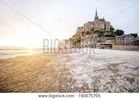 Sunset view on the famous Mont Saint Michel abbey in France