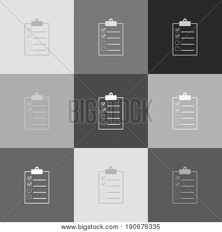 Checklist sign illustration. Vector. Grayscale version of Popart-style icon.