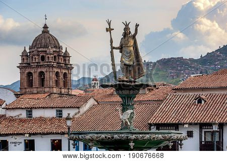 Statue at the Plaza de Armas in Cusco Peru