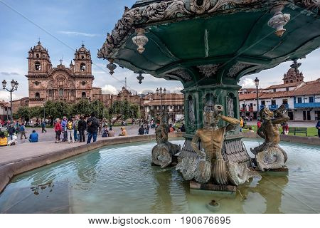 Cusco, Peru- March 16, 2017: Plaza de Armas Cusco Peru