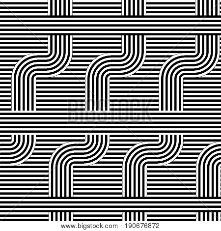 Curved striped pattern. Vector illustration. Geometric striped ornament. Monochrome background with interlaced striped tapes. Graphic texture.