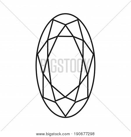 Diamond Icon.vector Illustration. Shiny Crystal Sign. Brilliant Stone. Black Stroke Isolated On Whit