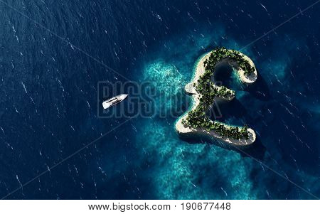 Success way. Tropical island in the form of the British pound symbol 3D Illustration