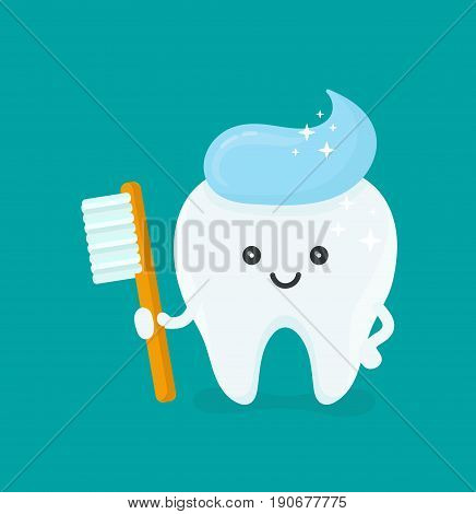 Cute happy smiling tooth with toothbrush and toothpaste hairstyle. Vector modern flat style cartoon character illustration. Isolated on blue background.Clear tooth concept