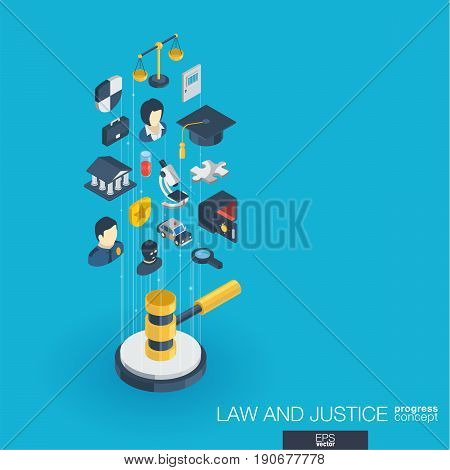 Law, justice integrated 3d web icons. Digital network isometric progress concept. Connected graphic design line growth system. Abstract background whith lawyer, crime and punishment. Vector Infograph