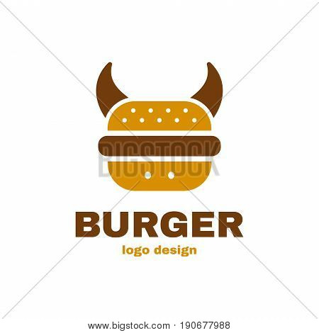 Burger bull cow concept logo template design. Vector illustraion flat icon design. Isolated on white background. Conept for fast food cafe burger meat meal menu