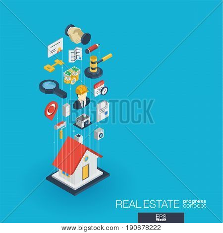 Real estate integrated 3d web icons. Digital network isometric progress concept. Connected graphic design line growth system. Abstract background for apartment rent, property sale. Vector Infograph