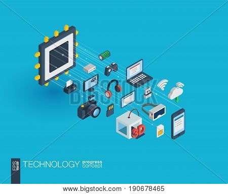 Technology integrated 3d web icons. Digital network isometric progress concept. Connected graphic design line growth system. Background whith wireless printing and virtual reality. Vector Infograph