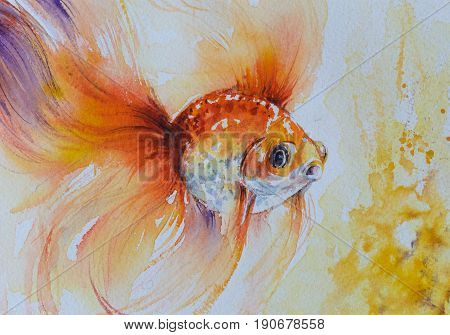 Goldfish in water. Watercolor artistic realistic illustration.