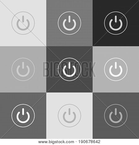 On Off switch sign. Vector. Grayscale version of Popart-style icon.