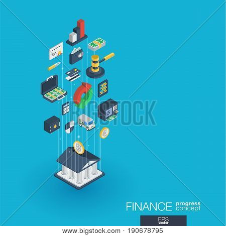 Finance integrated 3d web icons. Digital network isometric progress concept. Connected graphic design line growth system. Abstract background for money bank, market transaction. Vector Infograph