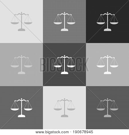 Scales balance sign. Vector. Grayscale version of Popart-style icon.
