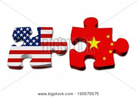 Relationship between the USA and China Two puzzle pieces with the flags of USA and China isolated over white 3D Illustration