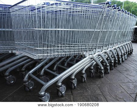 Shopping trolley in lines