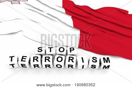 Malta Flag And Text Stop Terrorism.