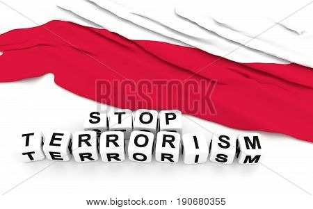 Polish Flag And Text Stop Terrorism.