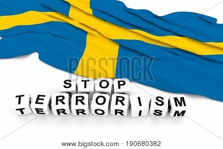 Swedish Flag And Text Stop Terrorism.