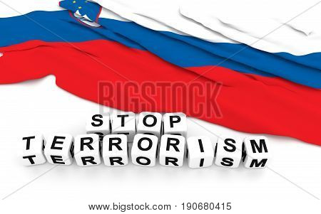 Slovenian Flag And Text Stop Terrorism.