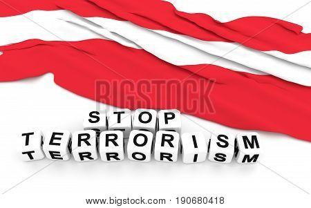 Austrian Flag And Text Stop Terrorism.