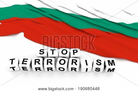 Bulgarian Flag And Text Stop Terrorism.