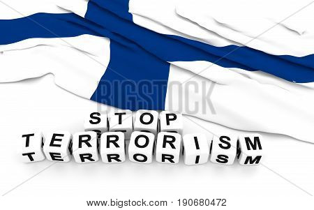 Finland Flag And Text Stop Terrorism.
