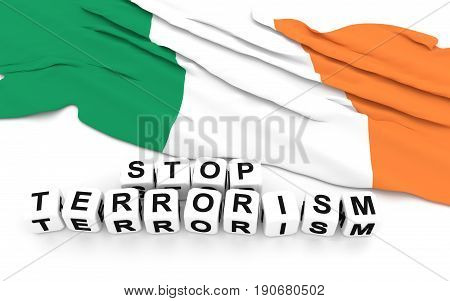 Irish Flag And Text Stop Terrorism.