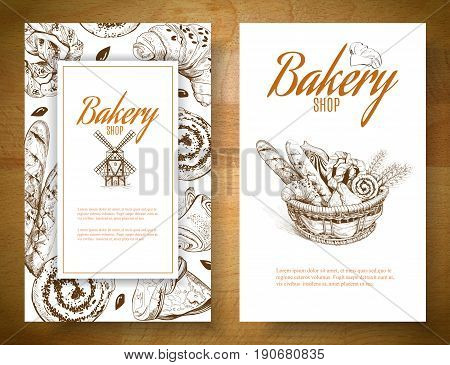 Vector vertical bakery banners with basket isolated on white background. Engraving stile design for bakery shop, grocery, dessert menu, pastry shop, recipe book, cooking manual . With place for text
