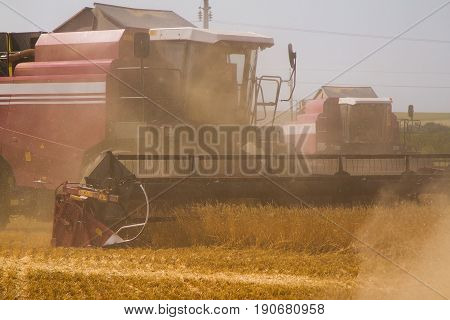 Combine harvesters in a field of wheat to harvest