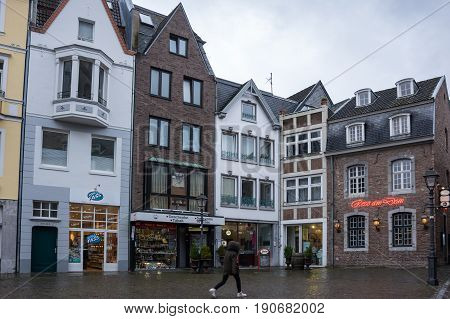 AACHEN GERMANY - FEBRUARY 20 2016: Street in the historical center of Aachen the westernmost city in Germany located near the borders with Belgium and the Netherlands