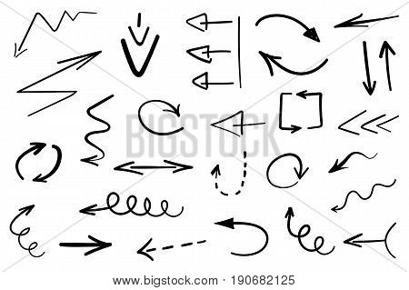 Set Of Grunge Hand Drawn Arrows Isolated On White. Vector Illustration