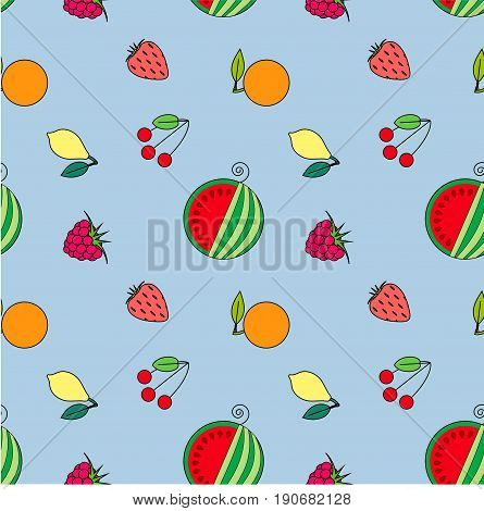 Seamless fruits flat design pattern. Red, green watermelon, cherry, strawberry, raspberry, orange, yellow melon on blue stock vector illustration
