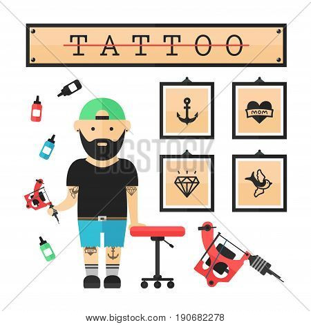 Tattoo artist master in salon. Vector modern flat style cartoon character illustration. Isolated on white background. Tattoo concept. Anchor heart diamond swallow