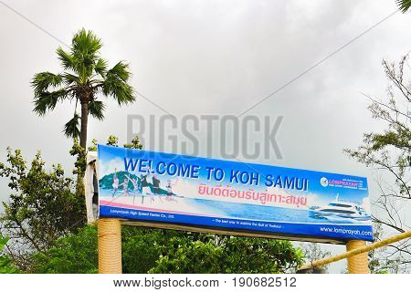 Koh Samui, Thailand - December 25, 2015: Koh Samui information sign at the Maenam beach, Koh Samui, Thailand