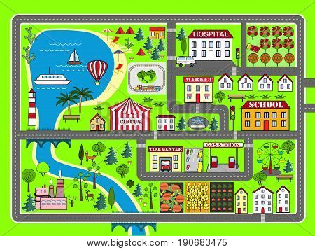 Lovely city landscape car track. Play mat for children activity and entertainment. Sunny city landscape with streets factory buildings and plants.