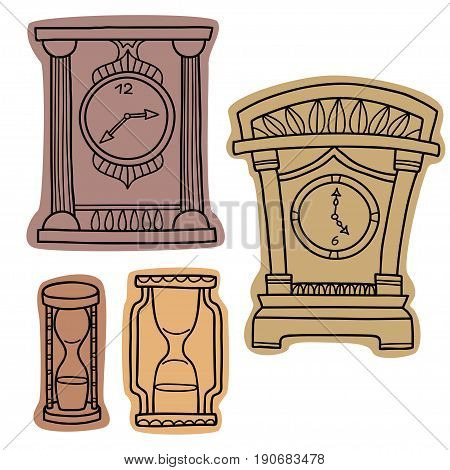 Vector set of doodle hand drawn watches. Alarm clocks, sand glasses, stop-watch isolated on white.