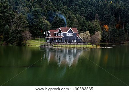 Wooden Lake House In Golcuk National Park