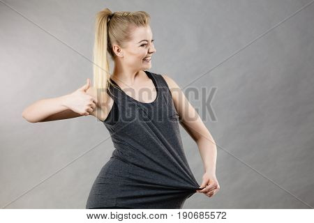 Woman Wearing Too Big Tshirt