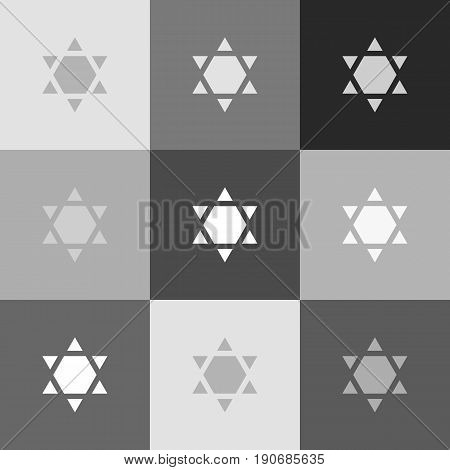 Shield Magen David Star Inverse. Symbol of Israel inverted. Vector. Grayscale version of Popart-style icon.