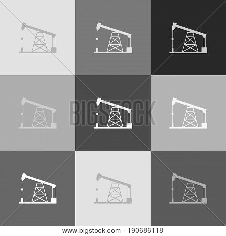 Oil drilling rig sign. Vector. Grayscale version of Popart-style icon.